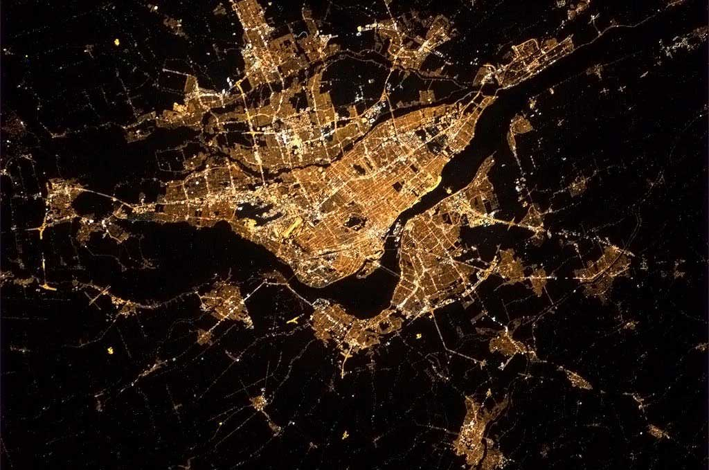 Montreal at night from the ISS