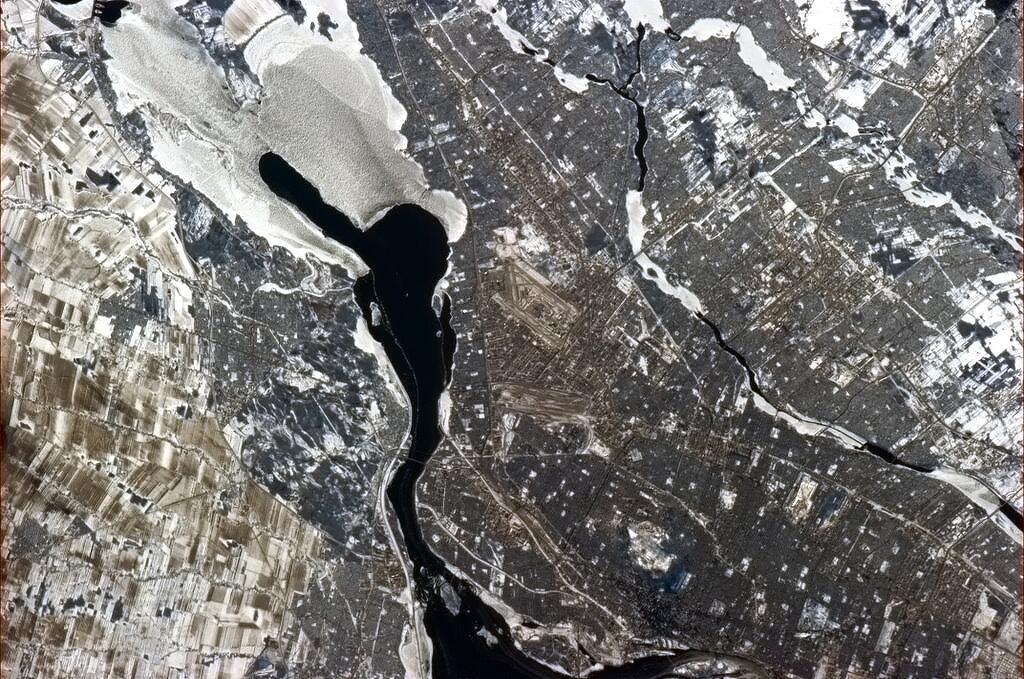 Montreal on a February winter's day from the ISS